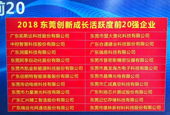 """盟大获评2018""""东莞企业创新活跃度20强"""" 创新服务受肯定"""